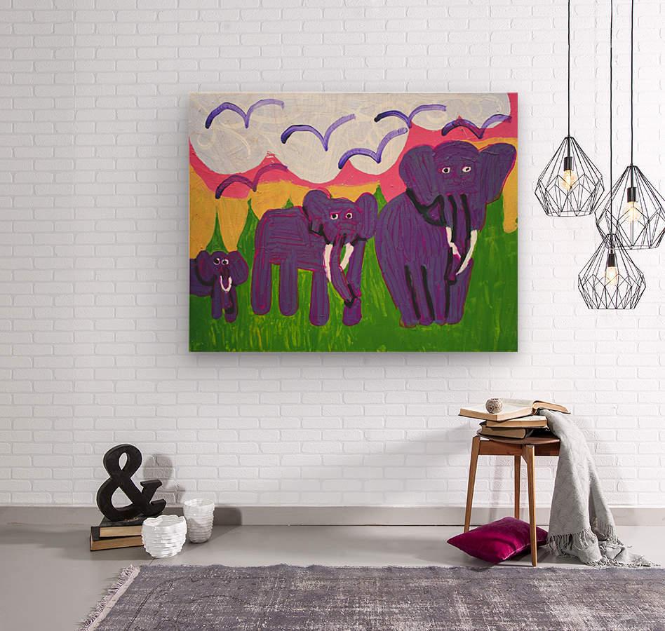 Purple Elephants. Michael D.  Wood print