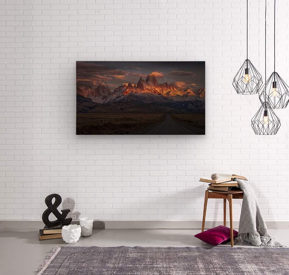 Burning peak  Wood print