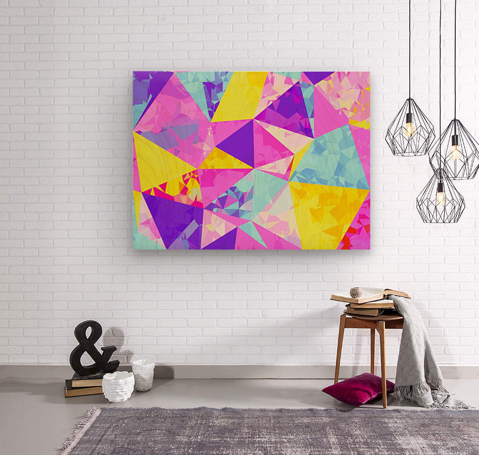 geometric triangle polygon pattern abstract in pink purple blue yellow  Wood print