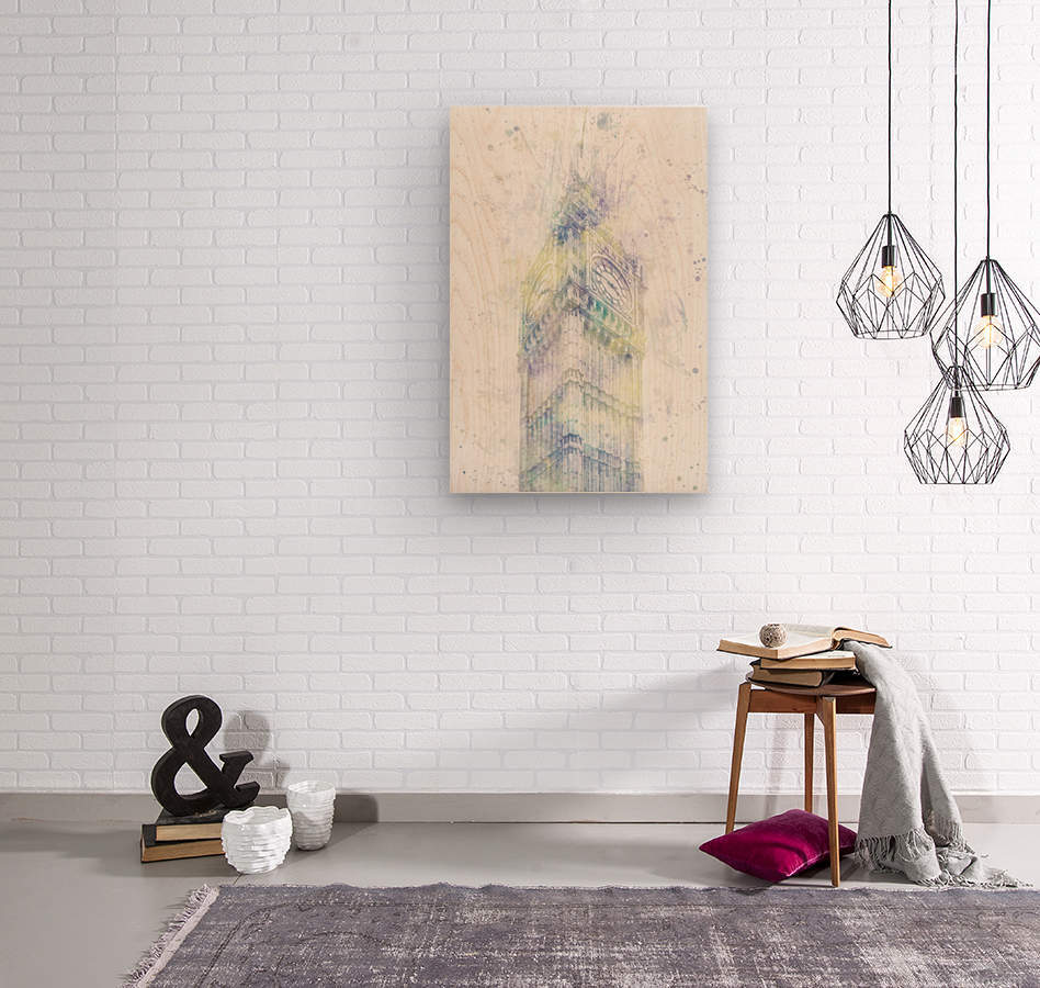 Modern Art BIG BEN | watercolor   Wood print
