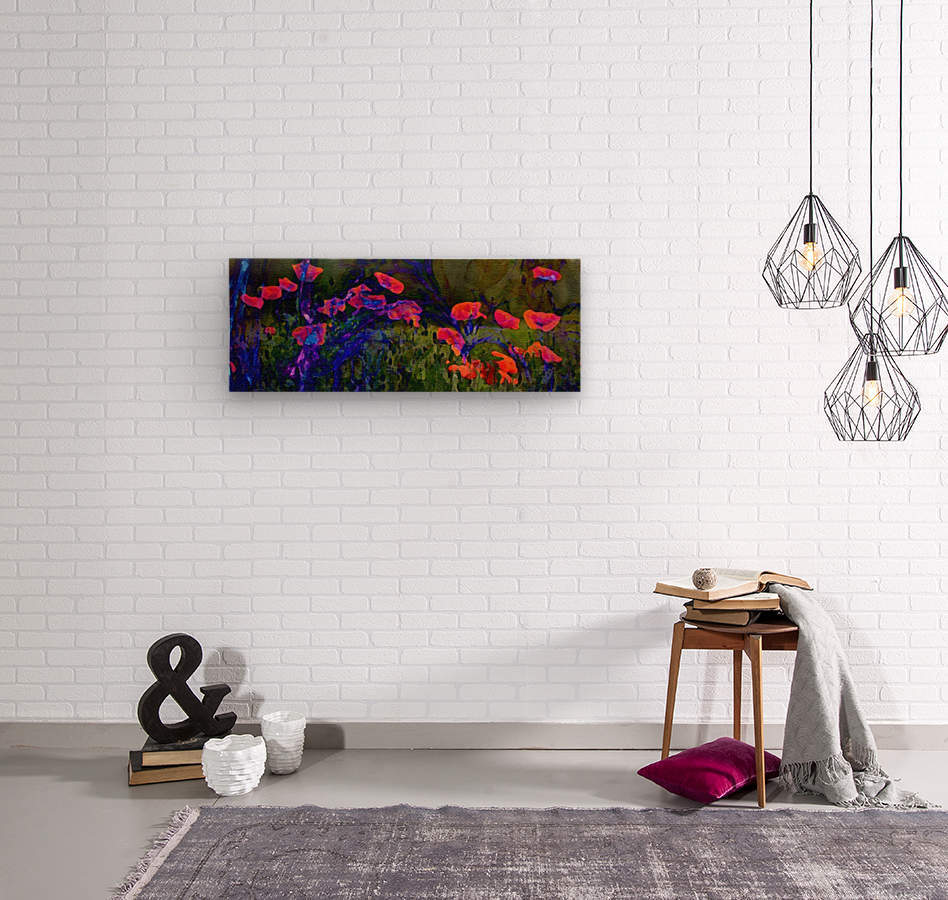 Red Poppy field  Wood print