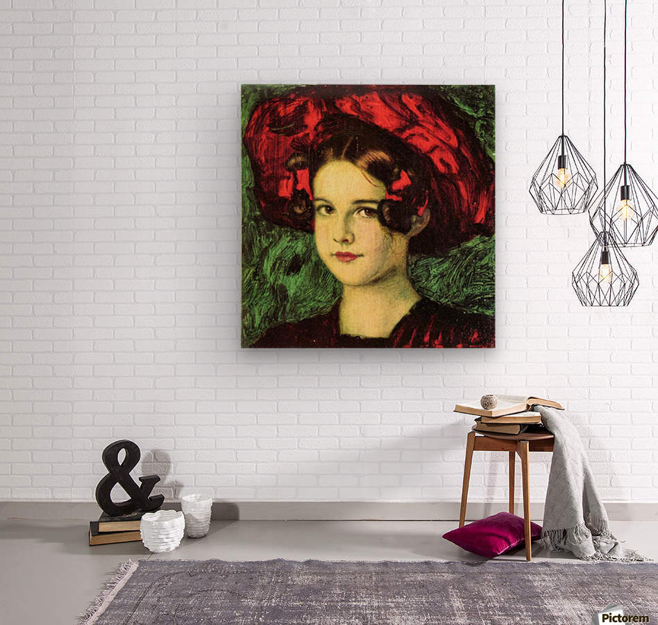 Mary with red hat by Franz von Stuck  Wood print