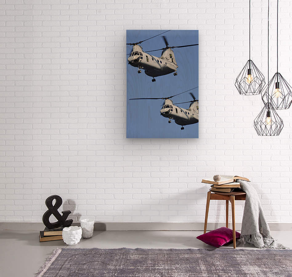 Two U.S. Marine Corps CH-46E Sea Knight helicopters in flight.  Wood print