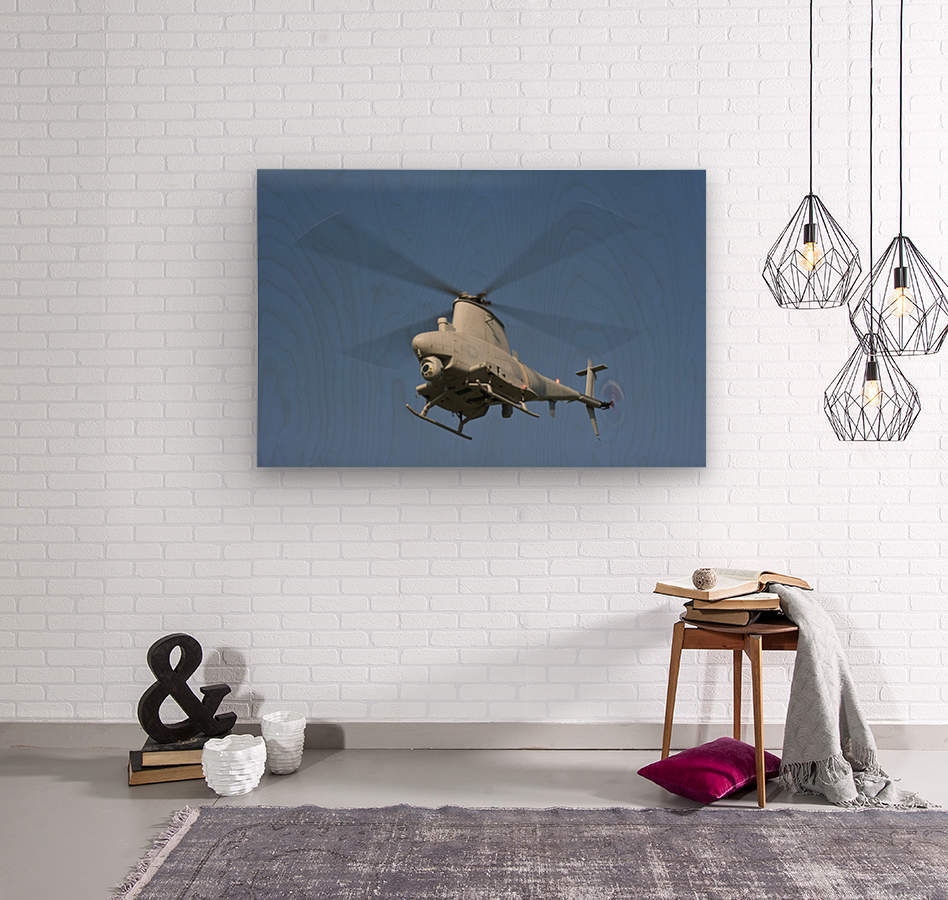 An MQ-8B Fire Scout unmanned aerial vehicle in flight.  Wood print