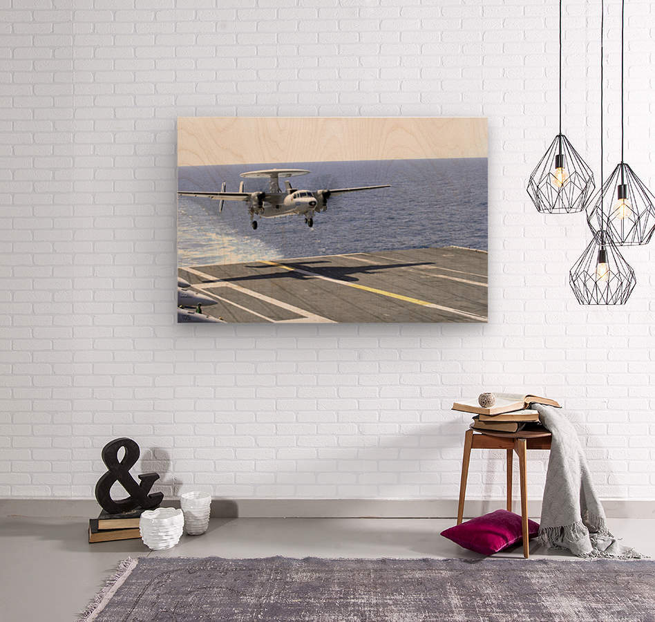 An E-2C Hawkeye makes its approach to the flight deck of USS Dwight D. Eisenhower.  Wood print