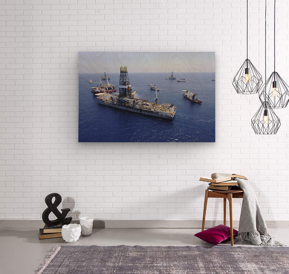 Flaring operations conducted by the drillship Discoverer Enterprise.  Wood print