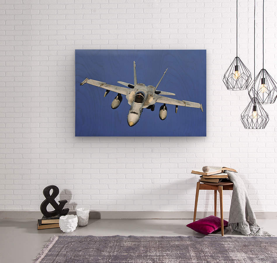 A F-A-18 Hornet participates in a mission in support of Rim of the Pacific.  Wood print