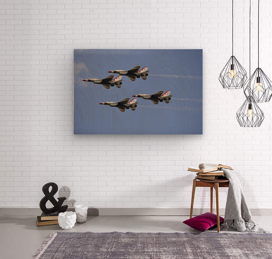 The U.S. Air Force Thunderbirds fly in formation.  Wood print