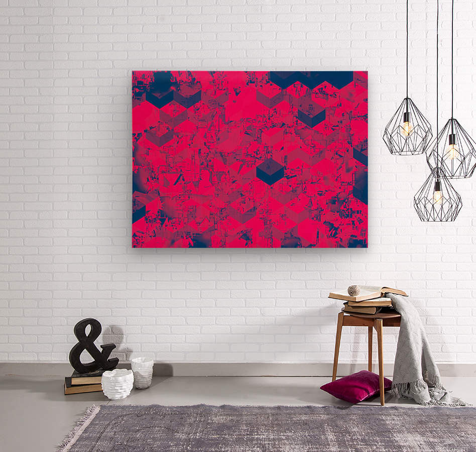 geometric square pattern abstract in pink blue  Wood print