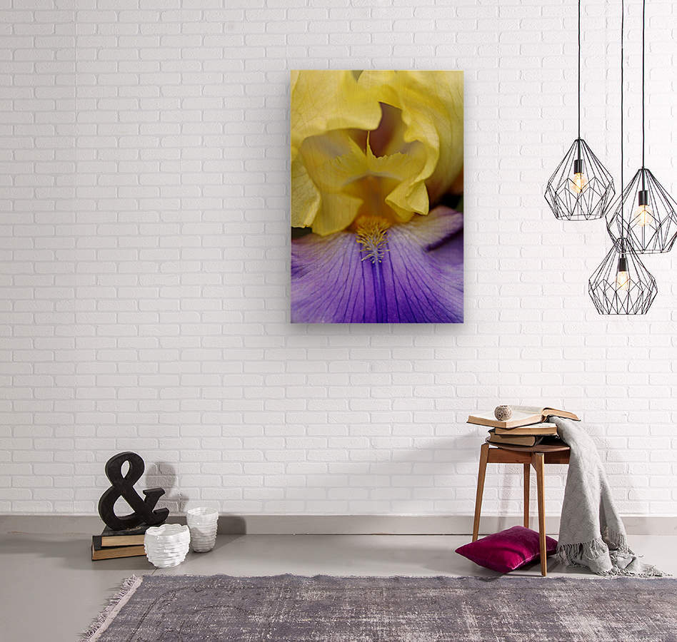 Lavender And Yellow Iris Heart  Wood print