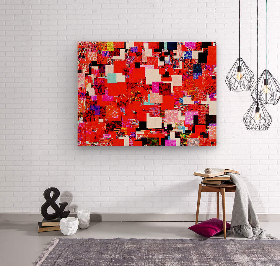 geometric square pixel pattern abstract in red blue pink  Wood print