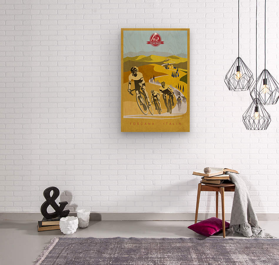 retro Strade Bianche cycling poster  Wood print