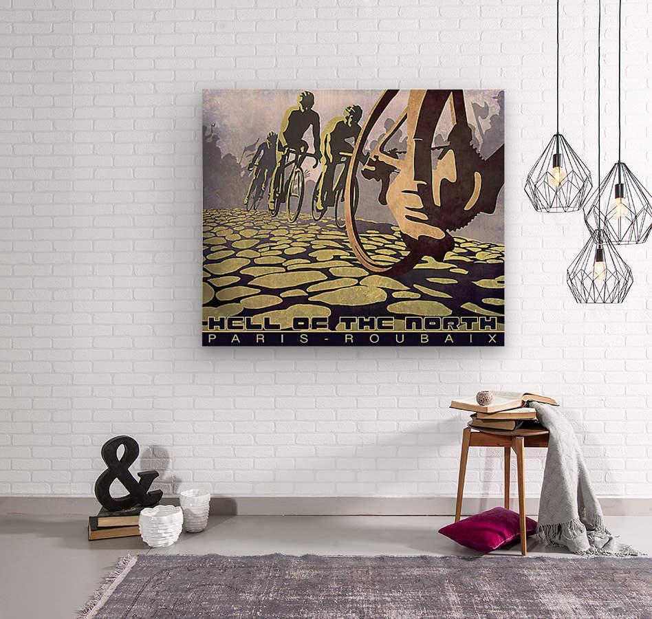 Paris Roubaix retro cycling poster  Wood print