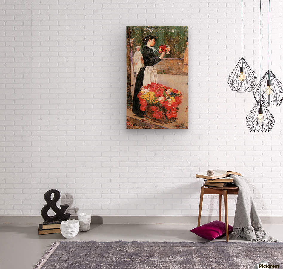 Flower girl by Hassam  Wood print