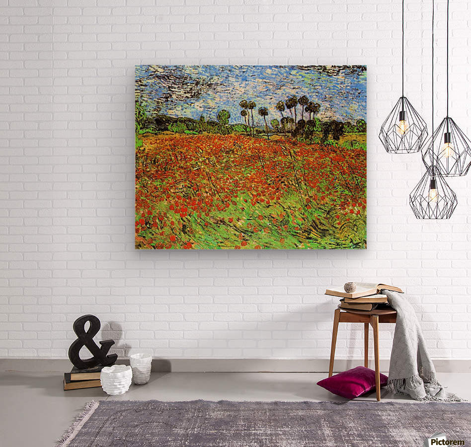 Poppy Fields by Van Gogh  Wood print