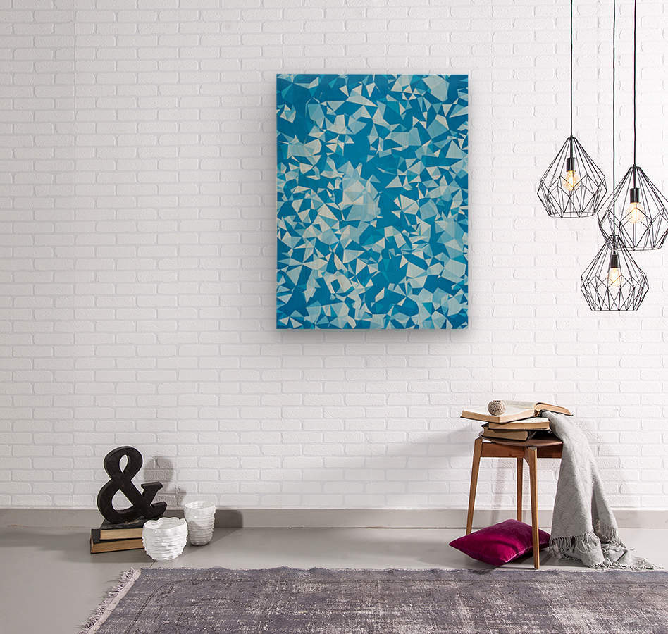 geometric triangle pattern abstract in blue  Wood print