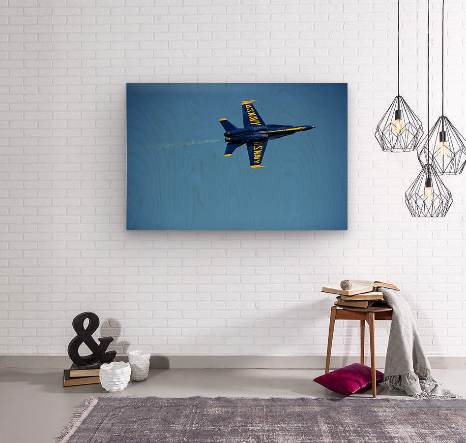 Single USN Blue Angel Flying  Wood print