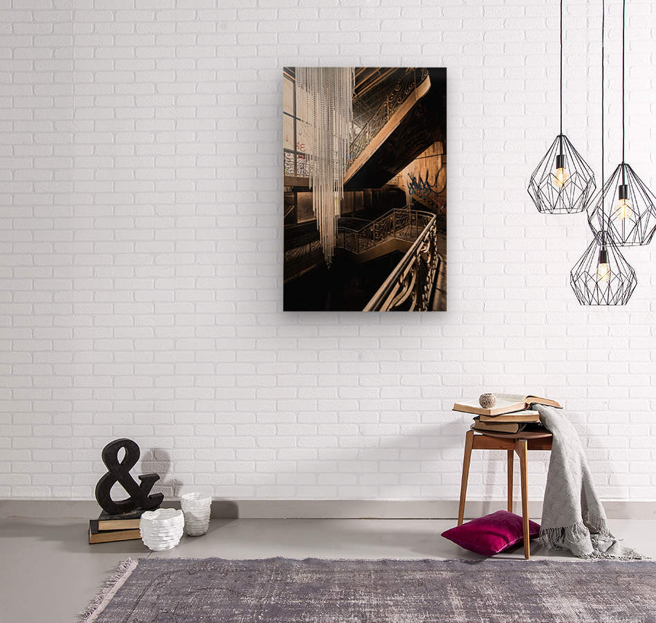 Abandoned Synagogue Icicle Chandelier  Wood print
