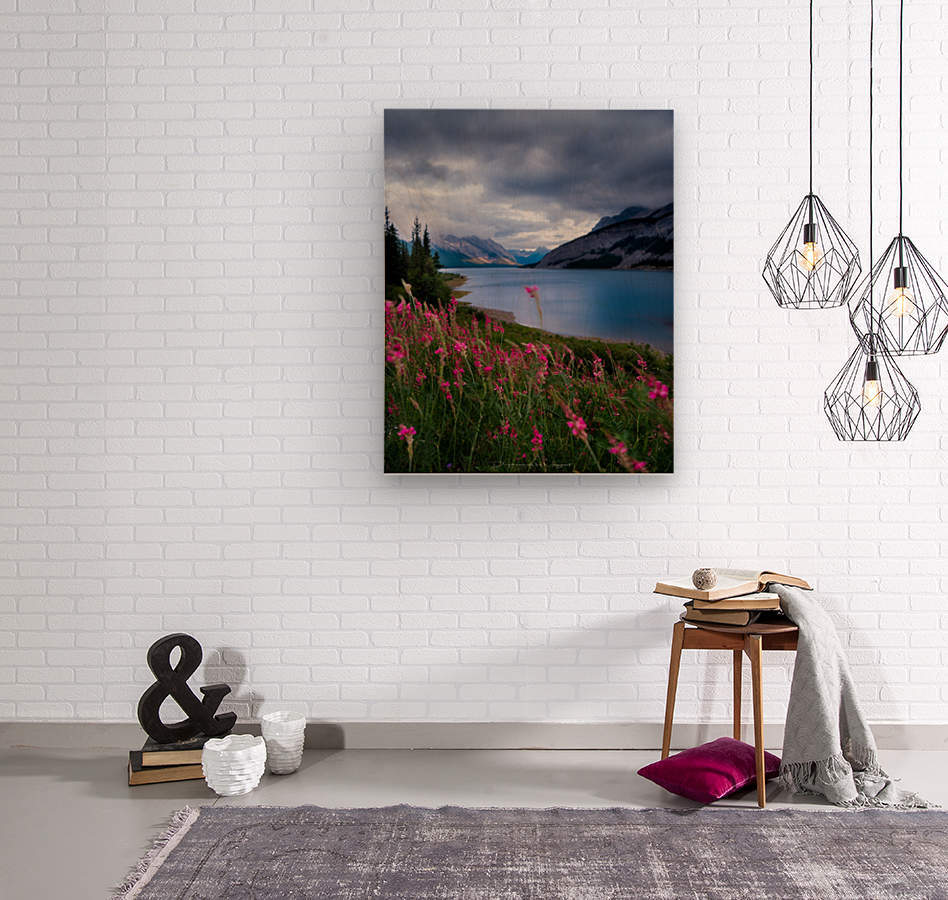 Spray lake   Wood print