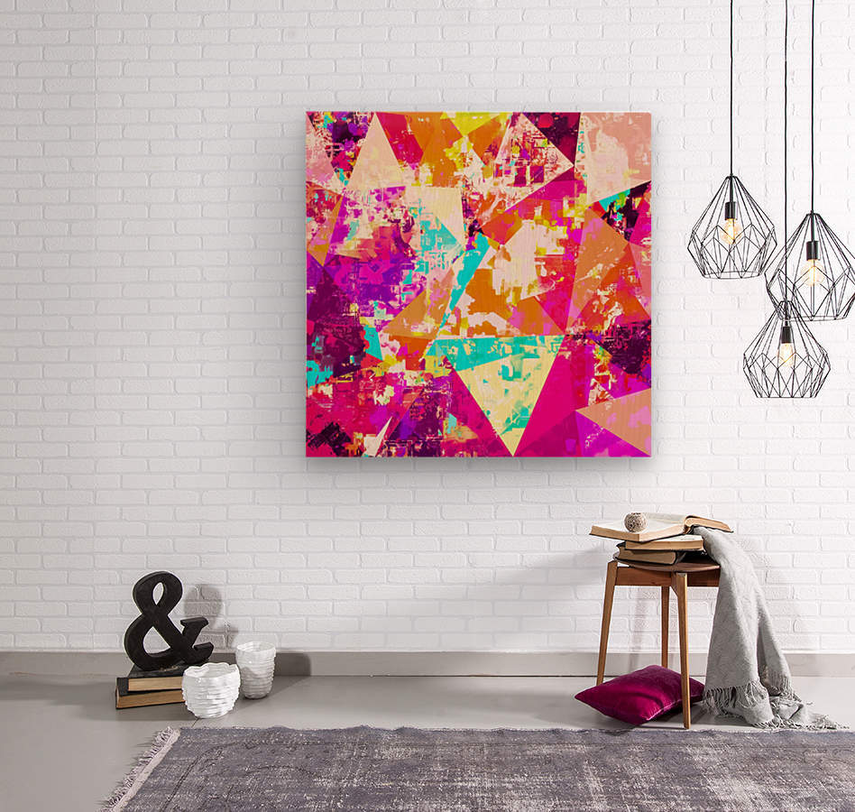 geometric triangle pattern abstract in pink blue purple  Wood print