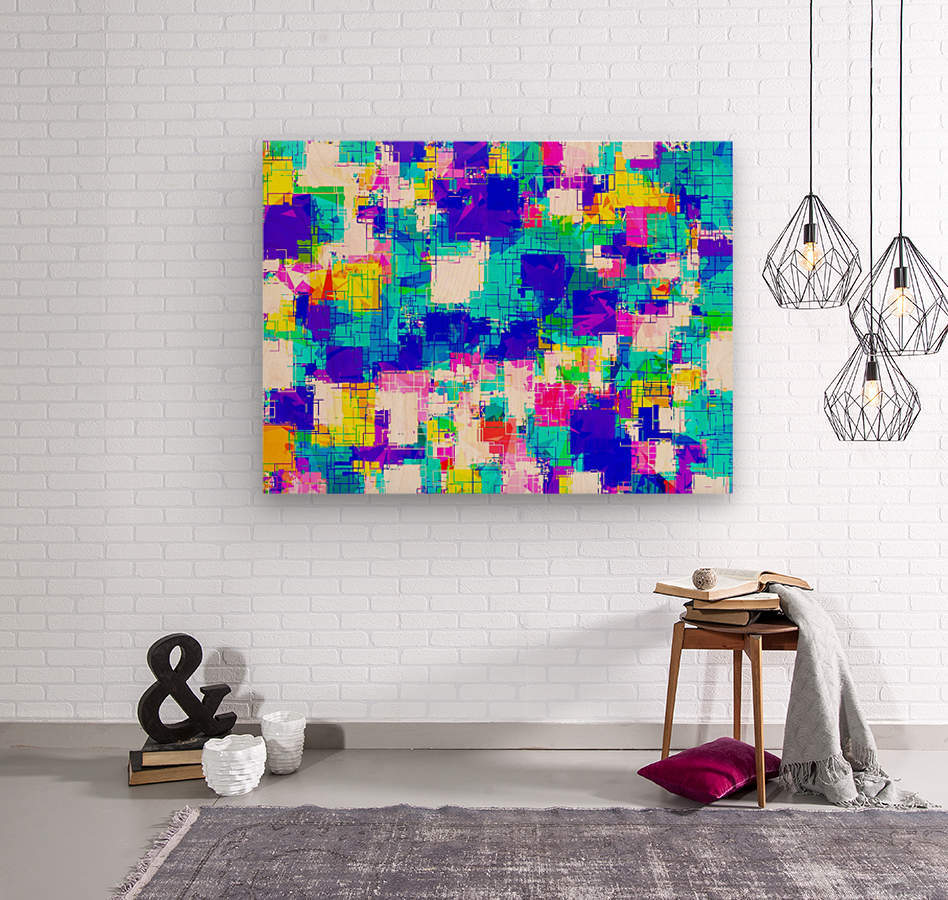 geometric square pattern abstract in blue pink yellow  Wood print