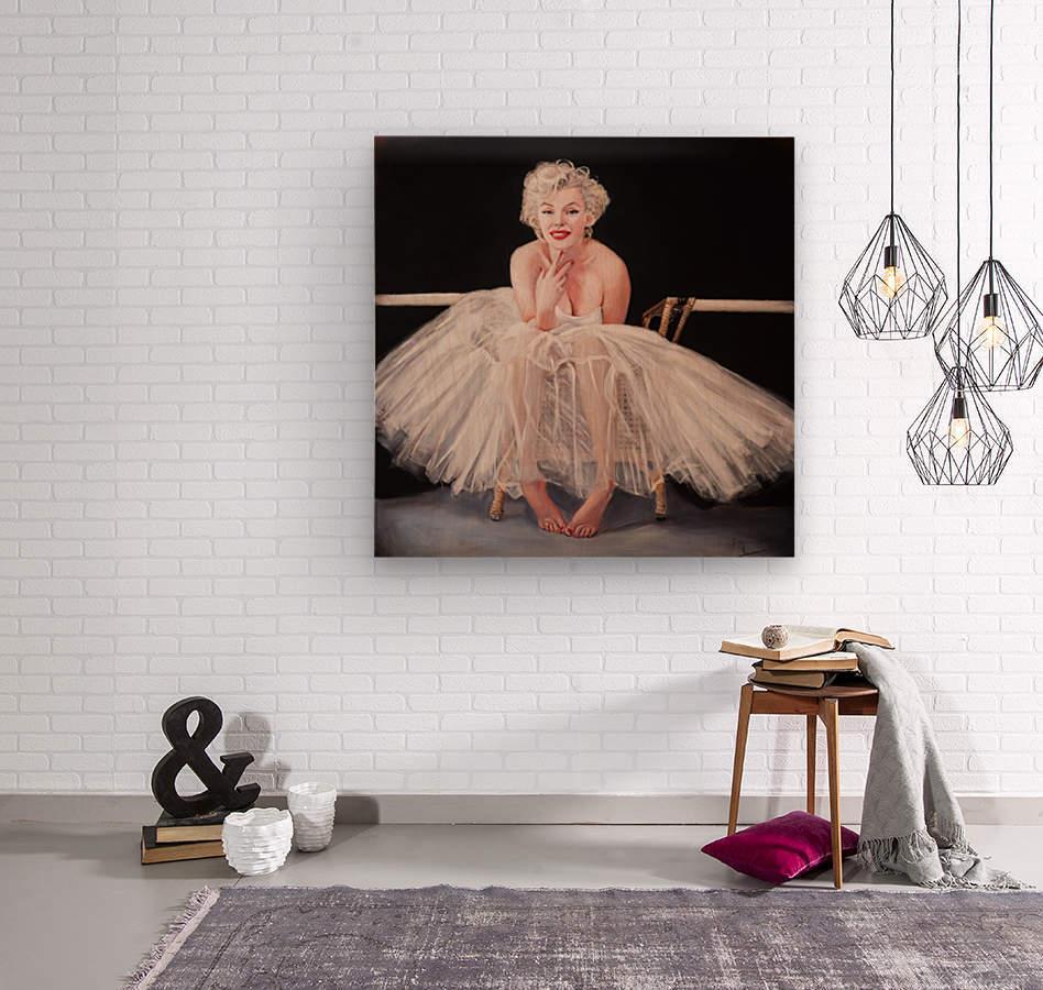 Marilyn ballerina sitting   Wood print
