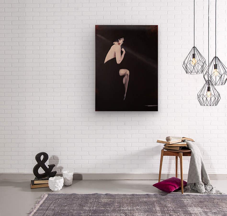 Marilyn black sitting 2  Wood print