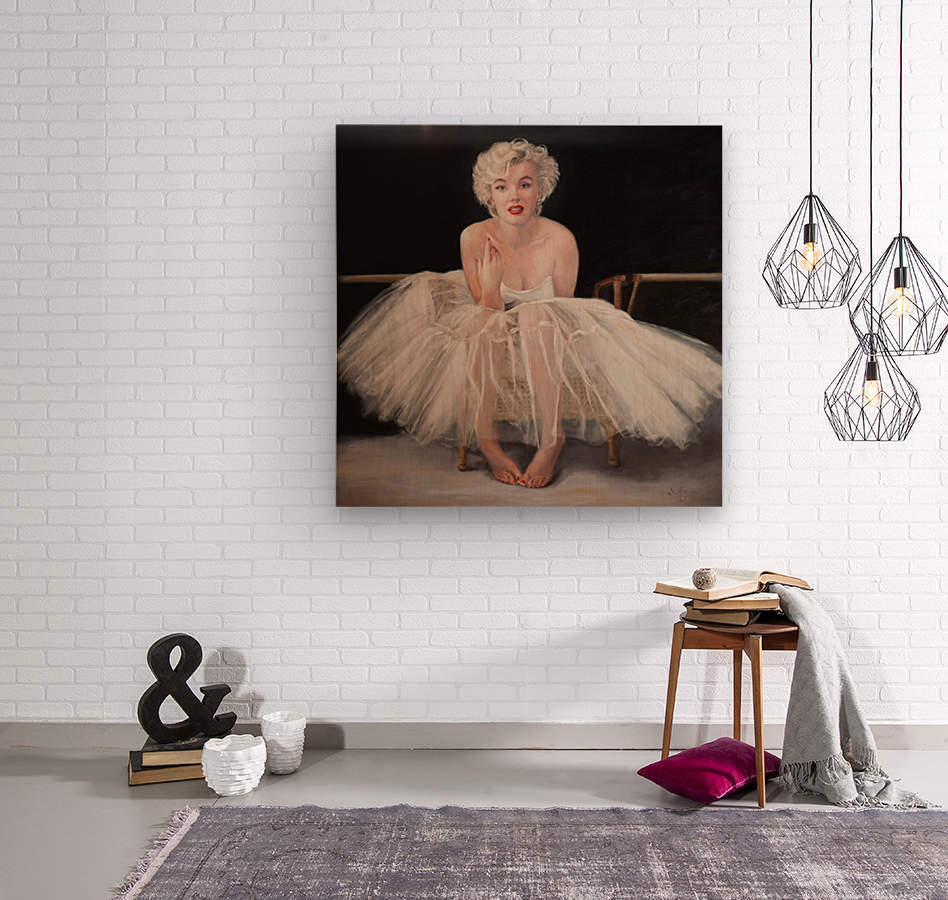 Marilyn in white ballet dress 1  Wood print