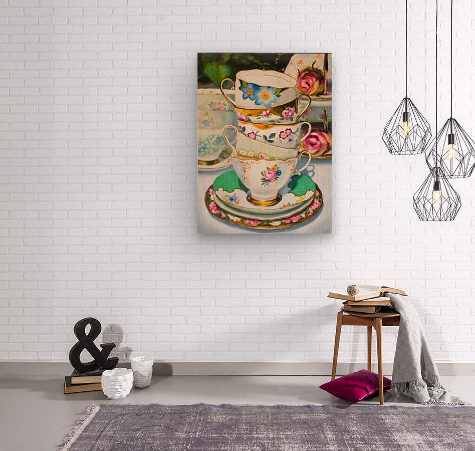 Cups and roses  still life oil painting   Wood print