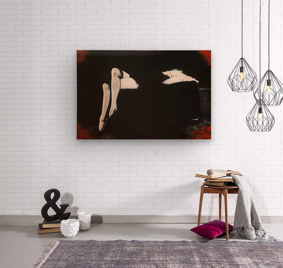 Marilyn black sitting 106   oil painting  portrait 1  Wood print