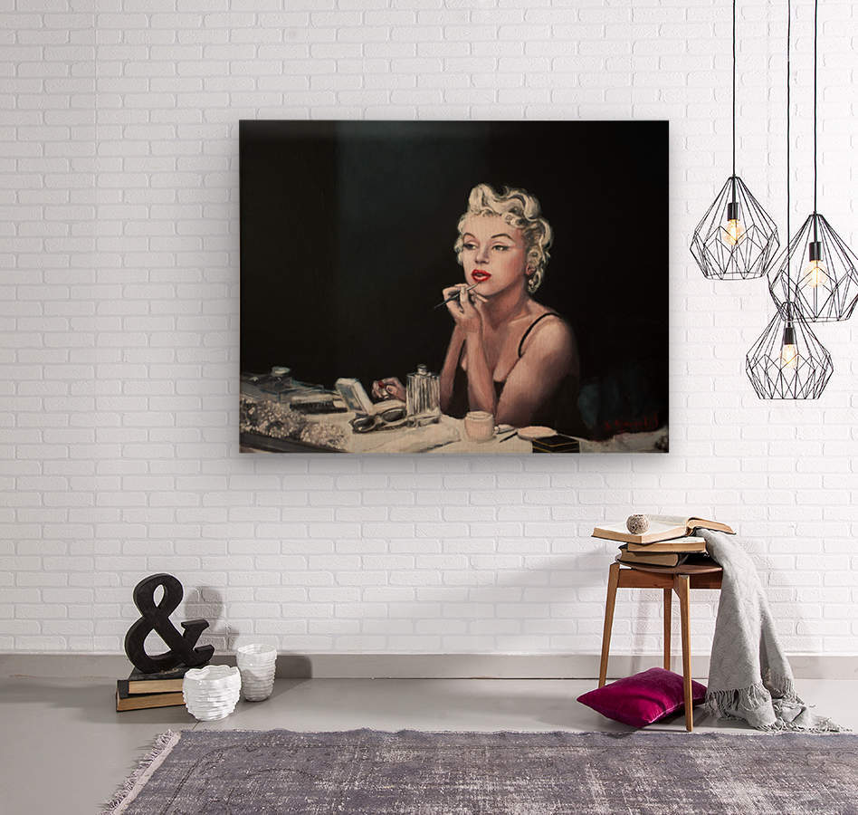 Marilyn backstage  oil painting  portrait 1  Wood print