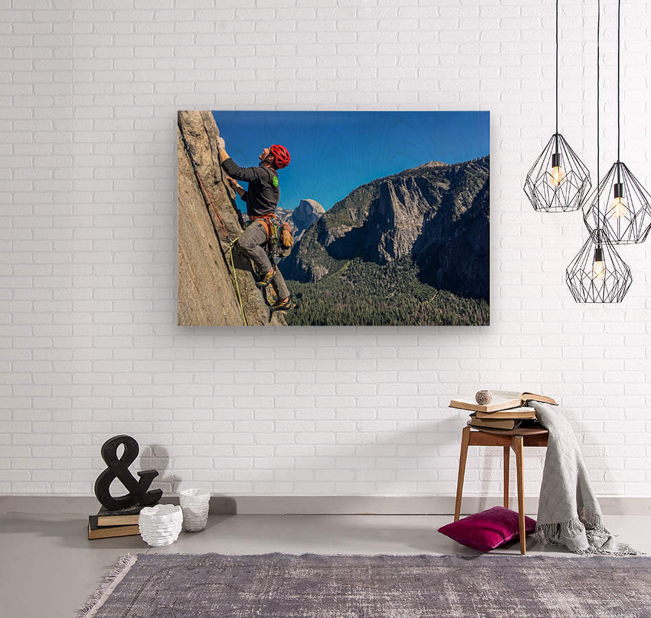 Climber on El Capitan  Wood print