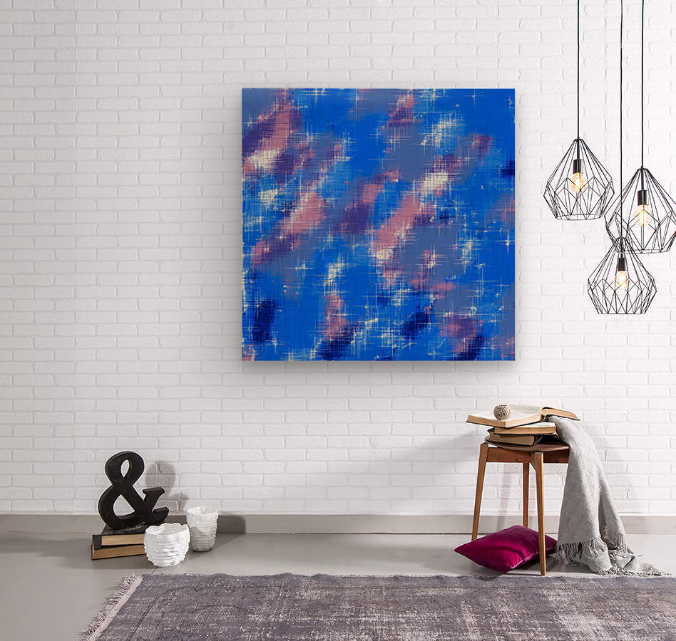 painting texture abstract background in blue pink  Wood print