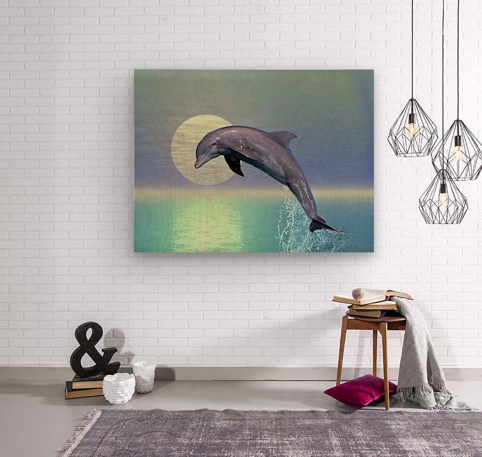 Dolphin  Wood print
