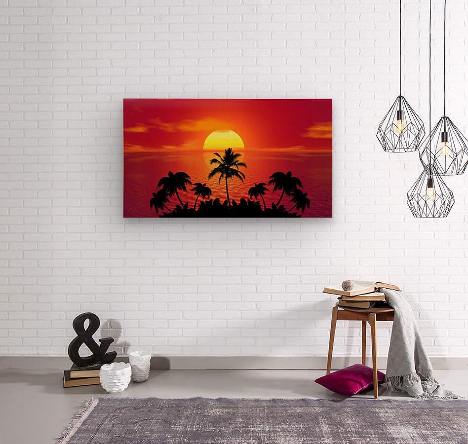 tropical sunset summer sun palm tree hot climate night  Wood print