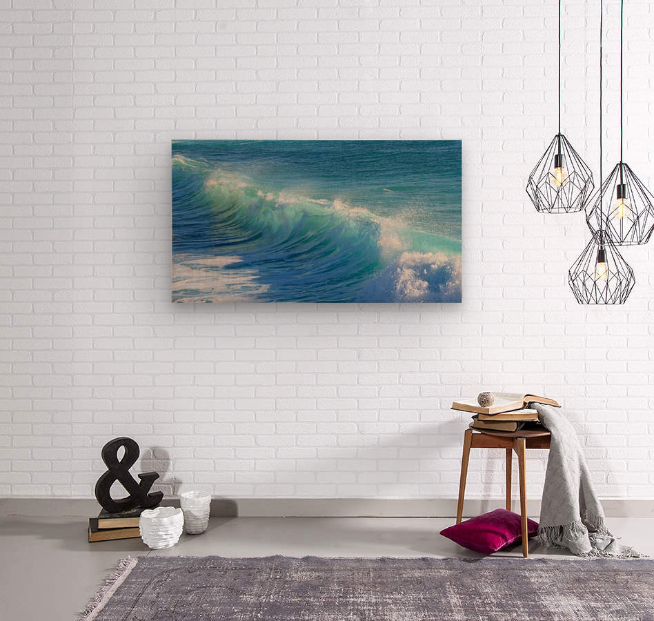 surf, water, wave, sea, nature, turquoise, ocean, splash, seashore, panoramic, spray, foam,  Wood print