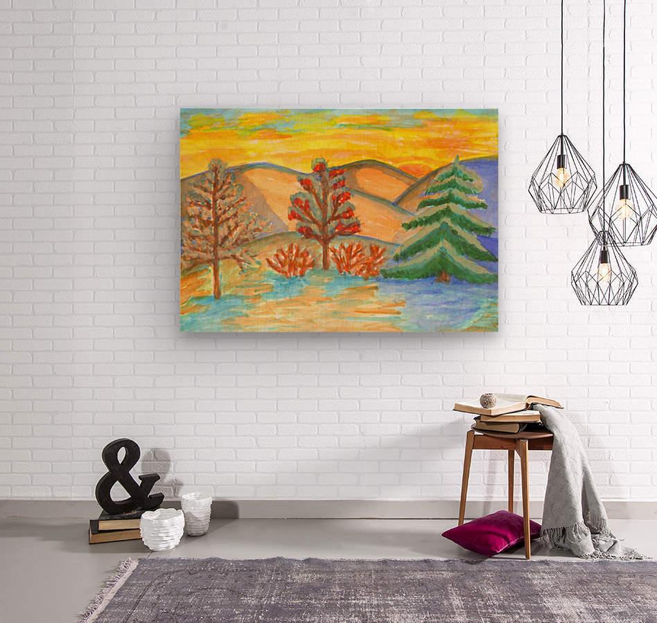 Winter landscape at sunset  Wood print