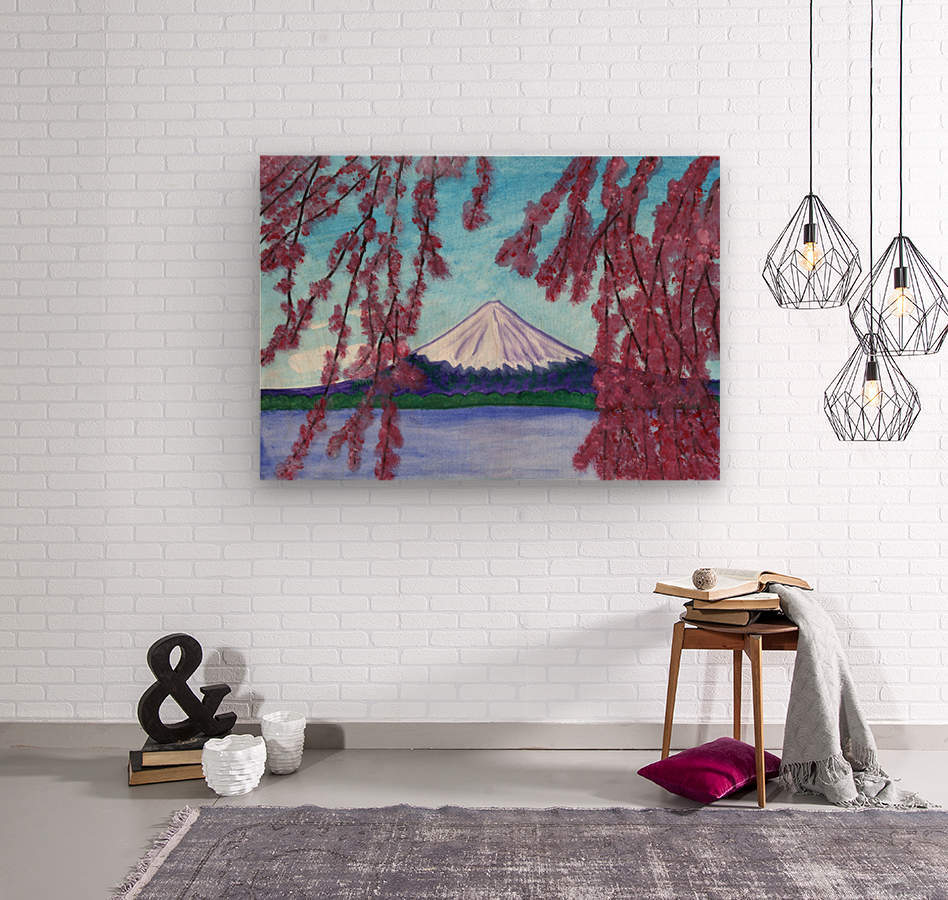 Sakura blooming on the background of a snowy mountain  Wood print
