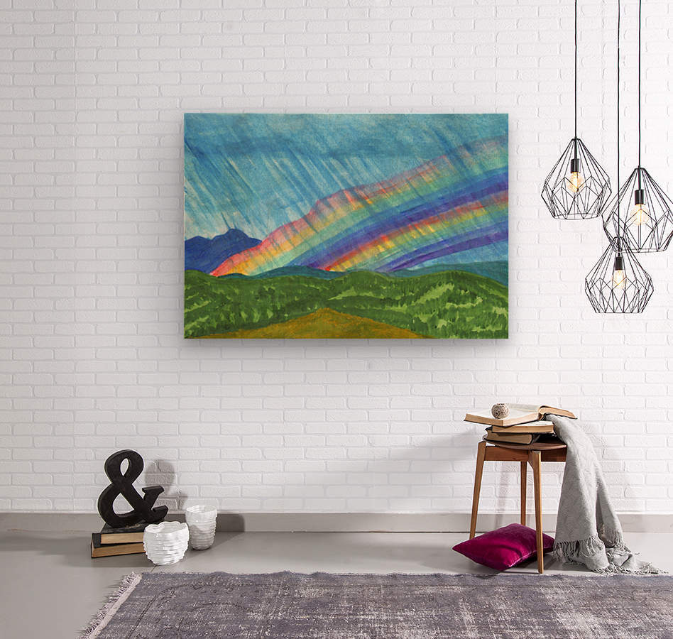 Double rainbow and rain in the mountains  Wood print