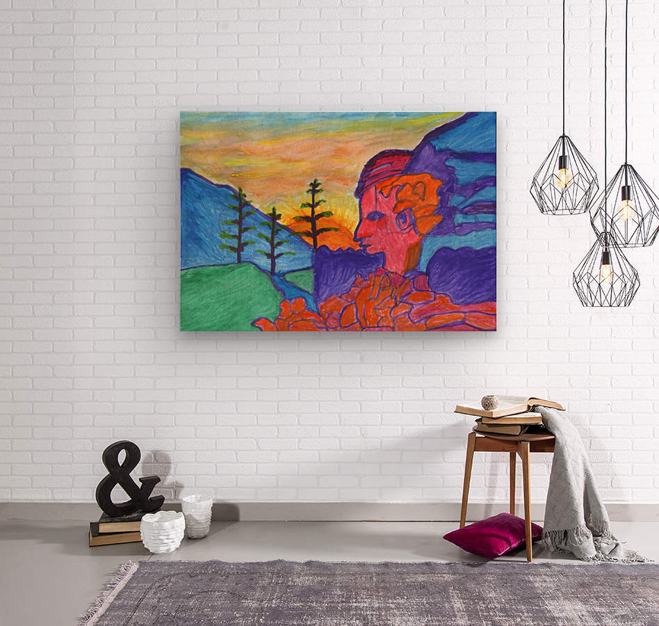 Mystical rock with a profile at sunrise  Wood print
