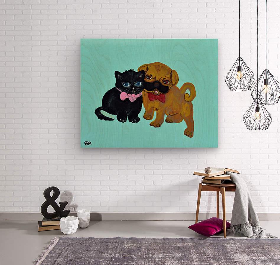 Pugs and Hugs. Erin R  Wood print