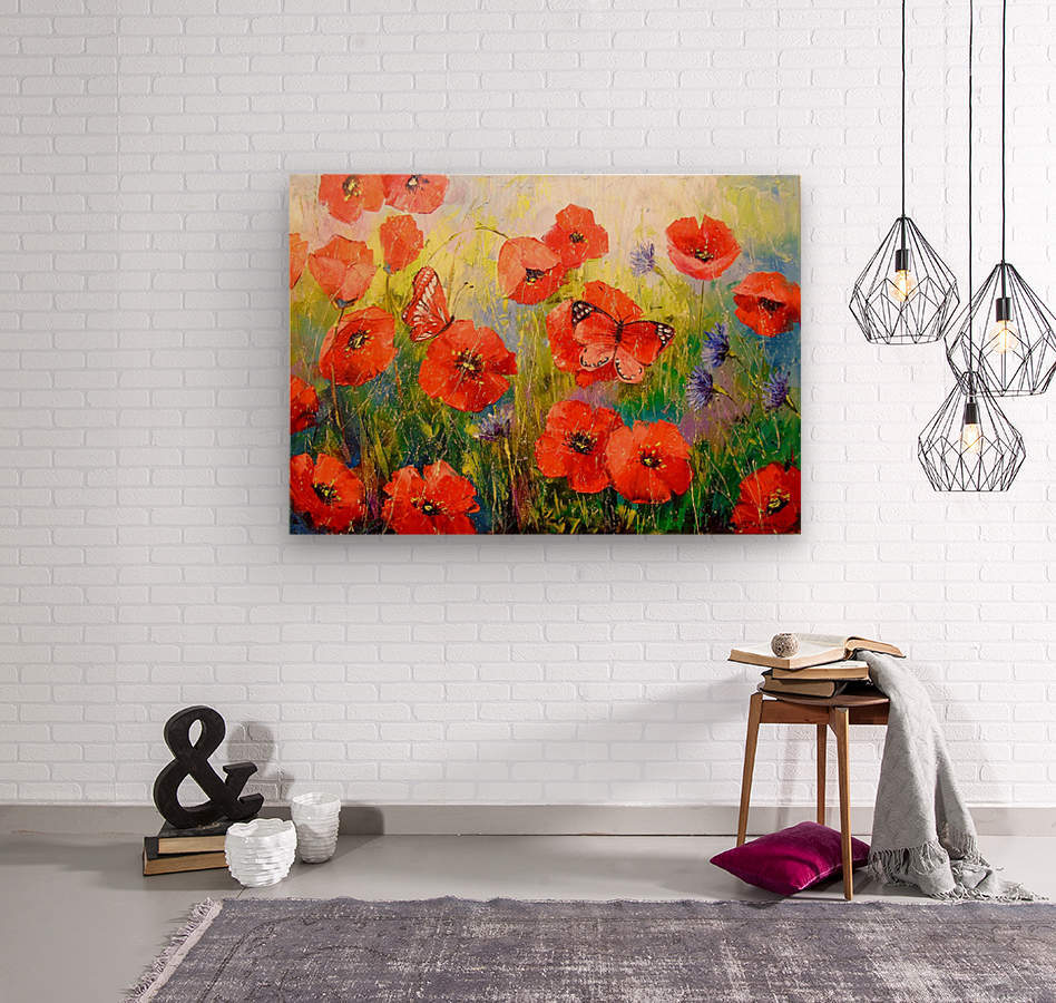 Poppies and butterflies  Wood print