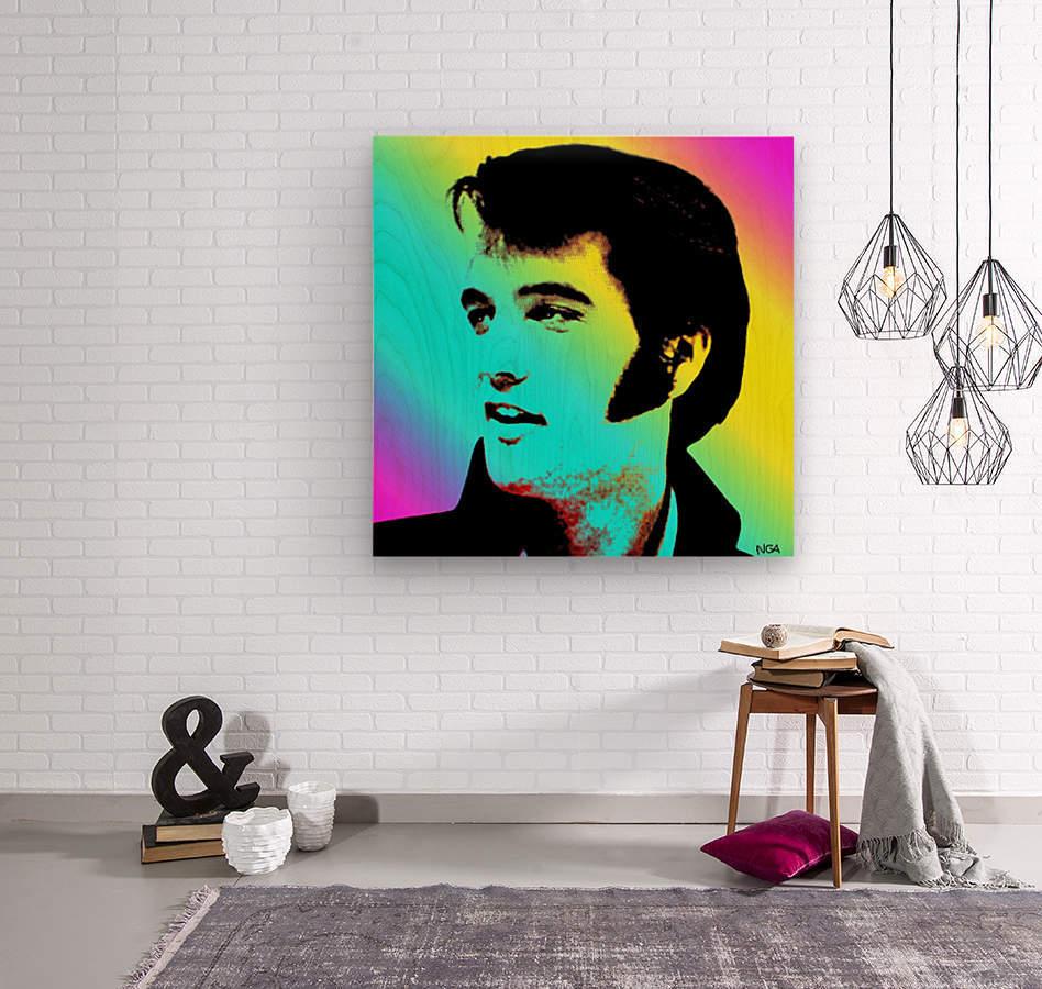 Elvis Presley -  by Neil Gairn Adams  Wood print