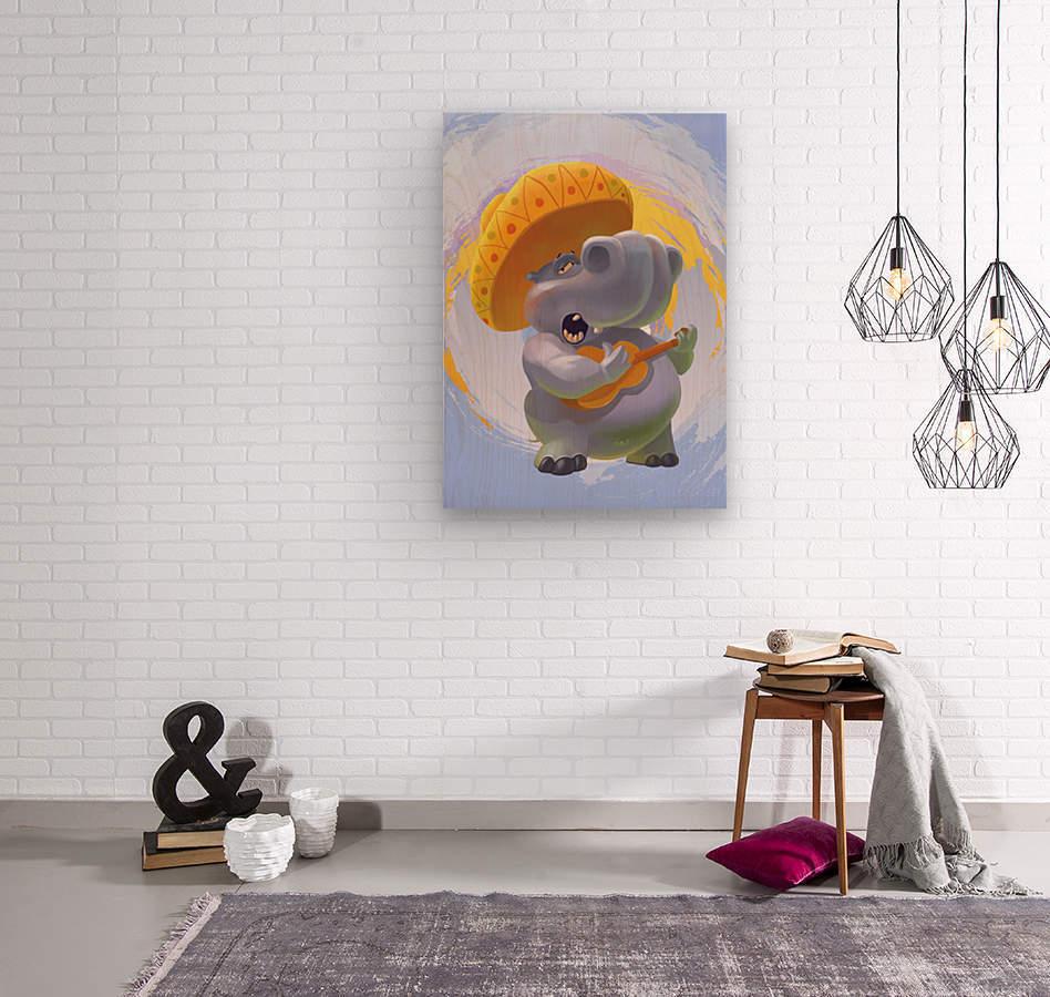 Hippopotamus mariachi  Wood print