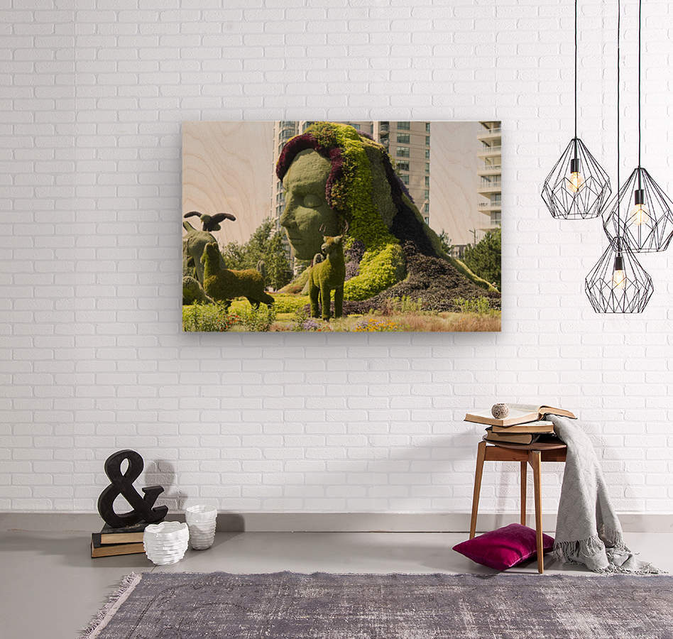 Mother Earth The Legend of Aataentsic with some of her creatures 4  Wood print