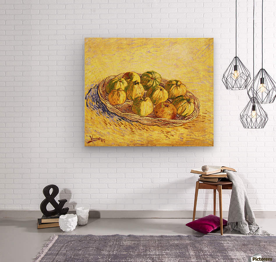Still life with apple basket -2- by Van Gogh  Wood print