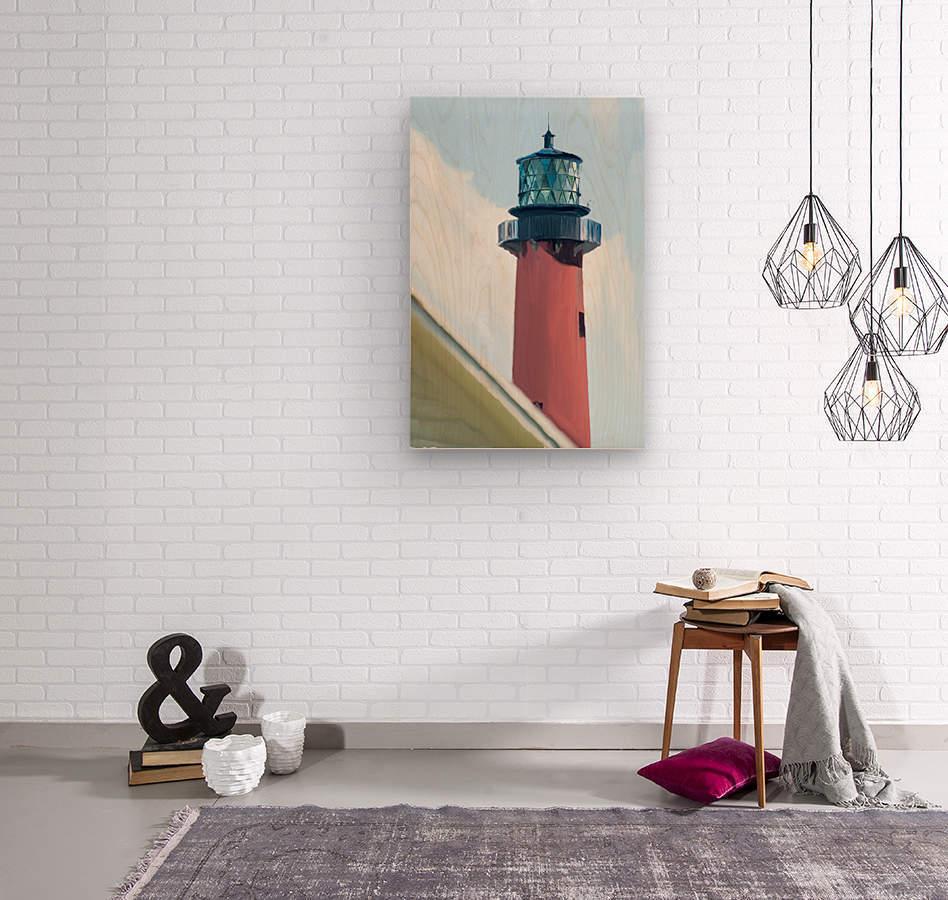 Jupiter Inlet Lighthouse Digital Painting Portrait 52 70 200px  Wood print
