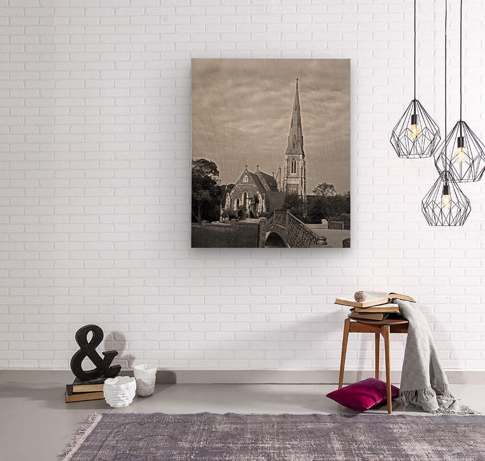 St. Albons Church B&W  Wood print