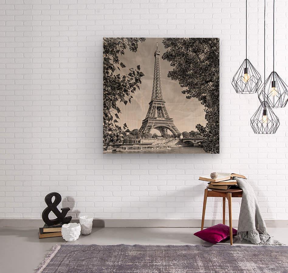 PARIS Eiffel Tower & River Seine   Monochrome  Wood print