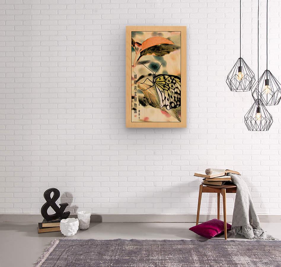 Papillon chinois   Impression sur bois